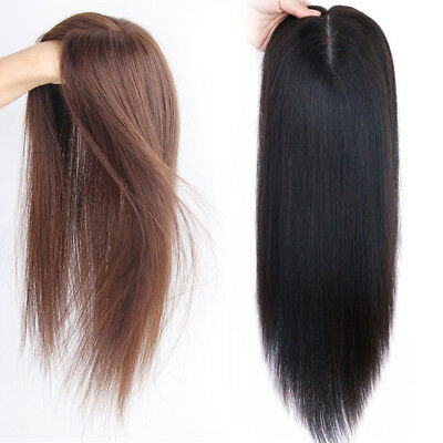 Women Clip in 100% Handmade Real Human Hair Straight Top Topper Hairpiece Toupee