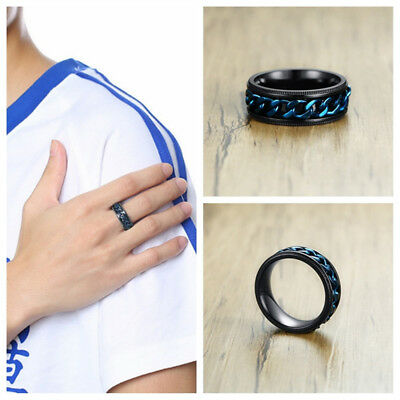 Men Wedding Ring Spinner Chain Reliever Stainless Steel Band Jewelry Gift