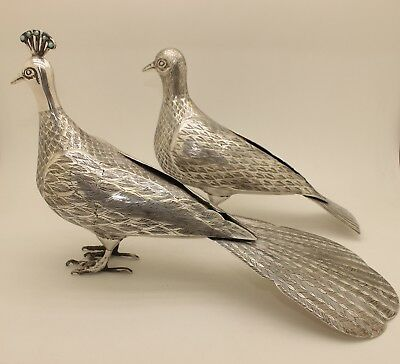 Antique Original Perfect Handmade Silver Persian Double Amazing Bird