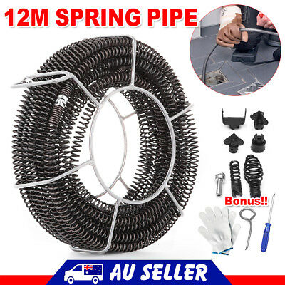 Plumber Drain Snake Pipe Pipeline Sewer Cleaner 12M w 6 Drill Bit for Drill AU