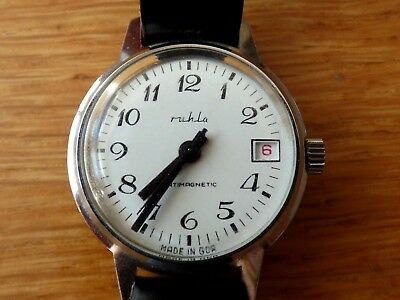 Mens Vintage GDR Ruhla Hand Winding Watch with Day section.Working Order