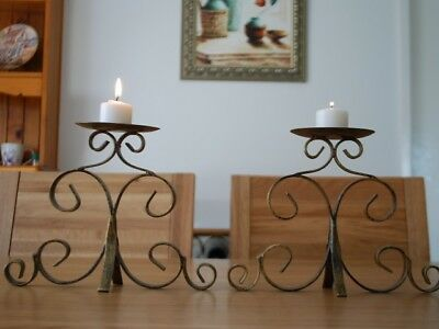 A Pair of Handmade Solid Scrolls Iron Table / Shelf Candle Holders Brass color