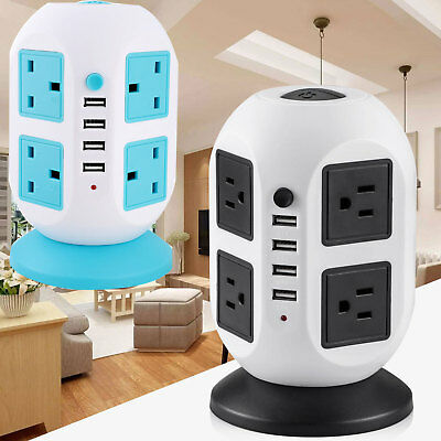3M 8 Way 8 Gang Surge Protected Tower Socket Extension Lead Cable With 4 Usb 2A