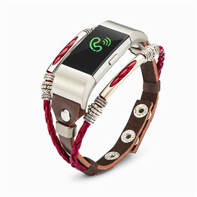 For Fitbit Charge 2 Strap Genuine Handmade Watch Band Leather Bracelet Wristband