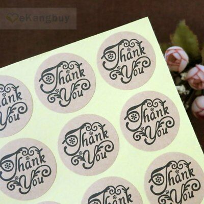Stickers - Kraft Round - Thank You - Set of 24 - 4cm