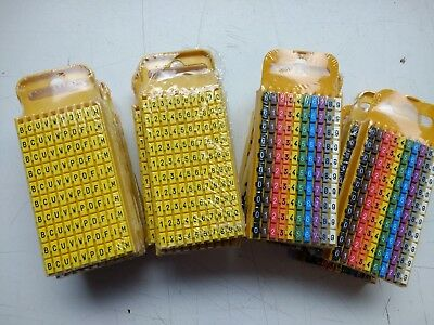 Hellermann Tyton WIC3 0-9 Cable Markers Size 3, YELLOW, Cable Diameter 4,3-5,3m