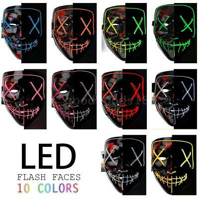 Luce LED up Flash EL filo Party Raver spaventoso maschera Halloween Costume L8G4