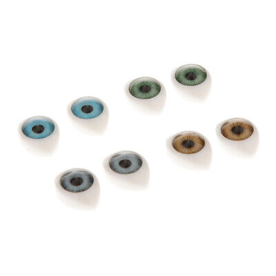 8pieces Oval Flat Back Glass Eyes 9mm Iris for Porcelain or Reborn Dolls DIY