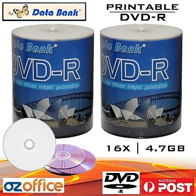 200 x Data Bank DVD-R 16x Inkjet Printable Blank DVD Discs - Print to Center DVD