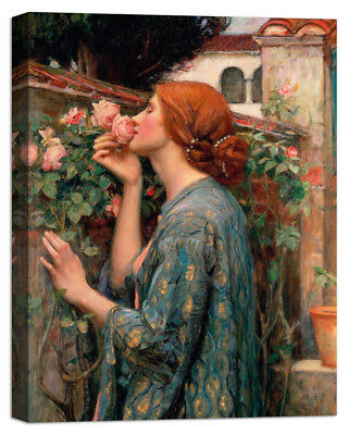 Stampa su Tela Vernice Effetto Pennellate WATERHOUSE The Soul of the Rose