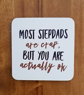 Funny Stepdad Gift Idea Coaster Step Dad Stepfather Cheap Birthday Present