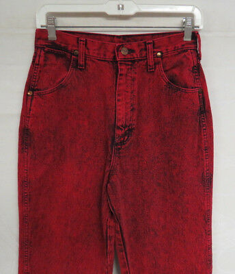 WOMENS VINTAGE WRANGLER JEANS 90's RED ACID WASH High Waist USA SZ 7/8 OR 26x34