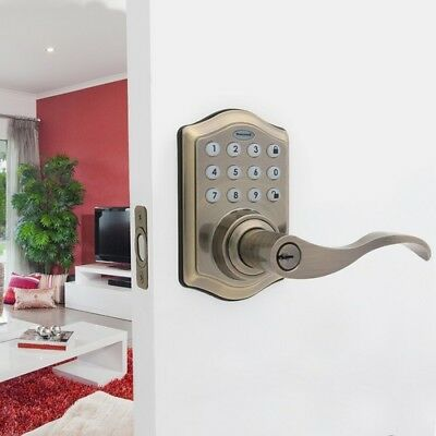 Electronic Entry Lever Door Lock One-Touch Locking w/ Alarm Antique Brass Finish