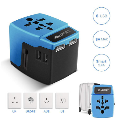 Dual Voltage Appliances 8 Amps Universal Power Adapter,6 USB Port Wall Charger