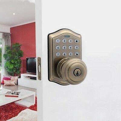 Electronic Entry Knob Door Lock w/ Alarm Antique Brass Finish One-Touch Locking