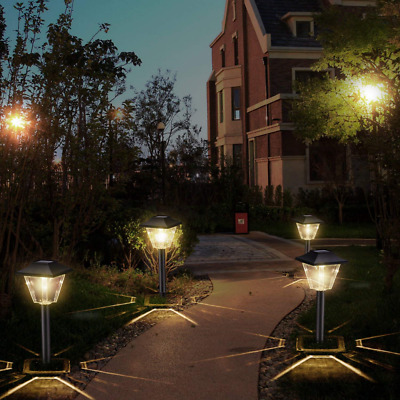 Outdoor Solar Pathway Lights - 6 Pack Square Waterproof Garden Path Powered NEW