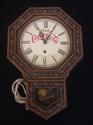 Drink COCA COLA Antique Style Wall Clock 1970's USA Vintage Retro Need Repair