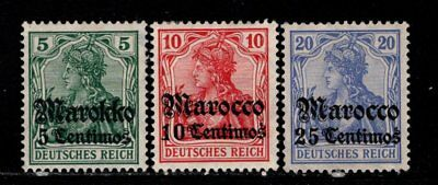 Item No. A5434 – German Offices in Morocco – Scott # 34-36 – MH