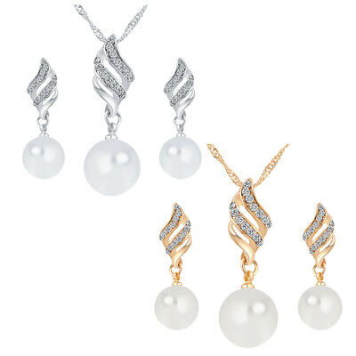 Women Elegant Pearl Crystal Pendant Necklace Earrings Wedding Party Jewelry Set