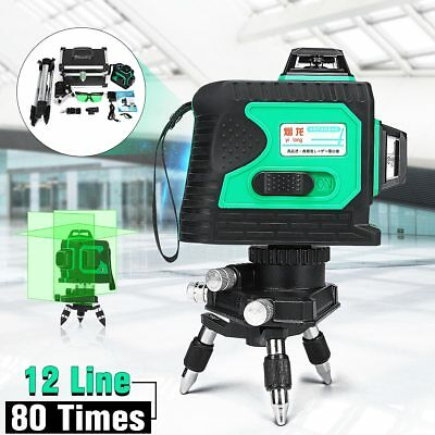 12 Line 3D 360 Degree Cross GREEN Laser Auto Self Leveling Vertical Horizontal