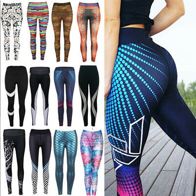 Women High Waist Yoga Fitness Leggings Running Gym Sports Pants Trousers US SEXY