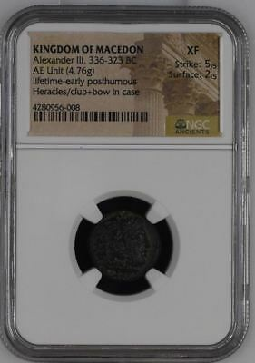 NGC Greek Bronze Unit, ALEXANDER THE GREAT, 4th Century BC, Club, Bow & Case XF