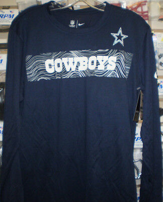 Nfl Dallas Cowboys Nike Dri Fit Long Sleeve Sideline T-Shirt Navy M Med New 8428fb574