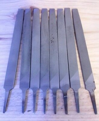 Set of 8 used files Knife making stock 12 inch Nicholson flat long angle lathe