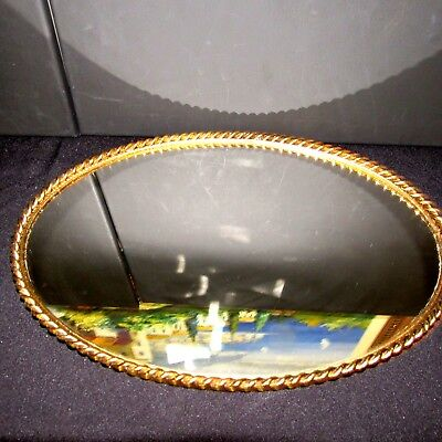 Vintage Oval Gilded Brass Rope Border Mirror Vanity Tray 131/2""