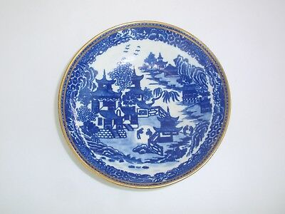 English Antique 19th Century Porcelain Blue Willow Small Dish Plate