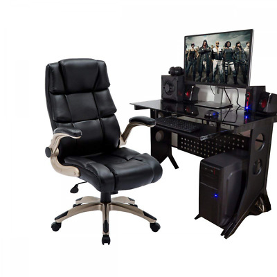 High Back Leather Office Chair Adjustable Padded Flip-up Arms Computer Desk NEW