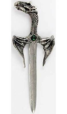 """Winged Dragon Letter Opener 5 1/2"""" or Small Athame Ritual Knife, Green Stone"""