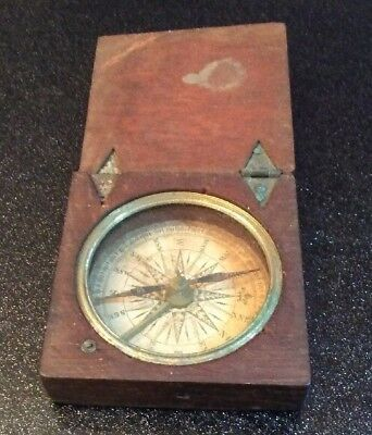 Rare Late Georgian Or Early Victorian Antique Wooden Compass.             (0536)