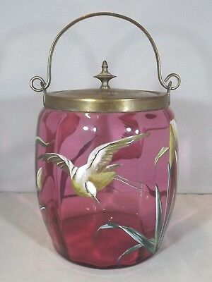 Antique Victorian Cranberry Glass Biscuit Barrel Jar, Painted with Birds Flowers