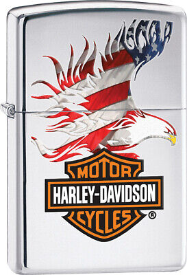 Zippo Lighter Harley-Davidson Flag with Eagle Windproof USA New 28082