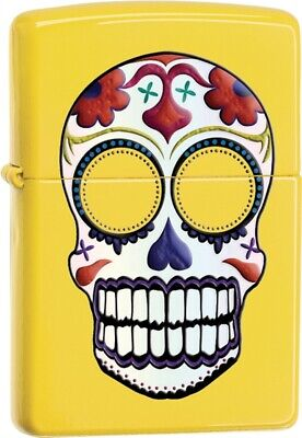 Zippo Lighter Day Of The Dead Yellow Windproof USA New 24894