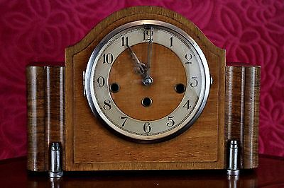 Vintage Art Deco German 8-Day Oak Mantel Clock 'Foreign' with Wesminster Chimes
