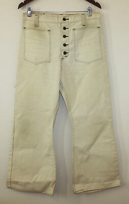Sears Kings Road 60s 70s Sailor Style Bell Bottoms Anchor Buttons 34-29 Fit 33