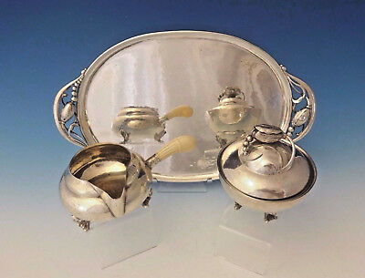 Blossom by Georg Jensen Sterling Silver Sugar and Creamer w/Tray 3pc Set #0013