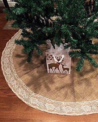 Christmas Tree Skirt with Ivory Lace Burlap 60 inch Handmade