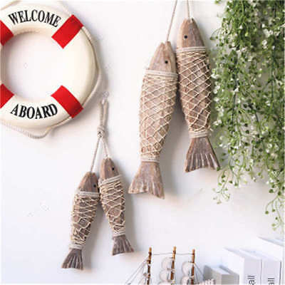 2Pcs Wooden Hanging Fish Handmade Marine Nautical Home Wall Decoration S/M