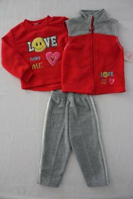 NEW Girls 3 piece Set 18 Months Sweatshirt Vest Pants Outfit Tracksuit Red Love