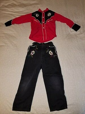 1950's VINTAGE WALLS OF TEXAS WESTERN WEAR CHILD'S COWBOY SHIRT (s5), PANTS (s6)