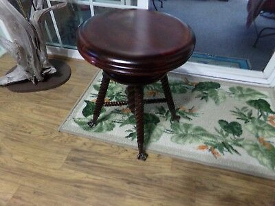 Early 1900s Adjustable Refinished Piano Stool With Corkscrew Legs & Ball & Claw