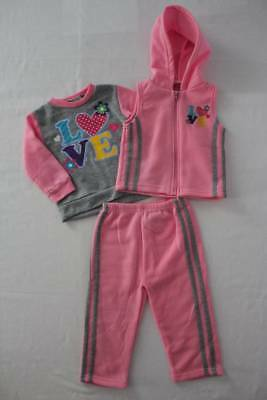 NEW Girls 3 piece Set 24 Months Sweatshirt Hooded Vest Pants Outfit Pink Love
