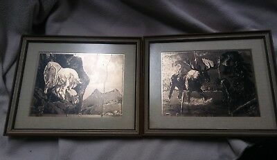 "Set of 2 R.H. Palenske framed gold foil etchings  ""High Game"" & ""Looking For Me?"