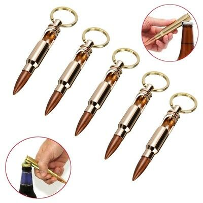 Aluminum Bullet Shape Beer Soda Bottle Opener With Key Ring Keychain Bar Tools