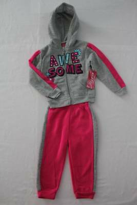NEW Girls 2 piece Set Size 2T Hooded Jacket Pants Outfit Pink Gray Awesome