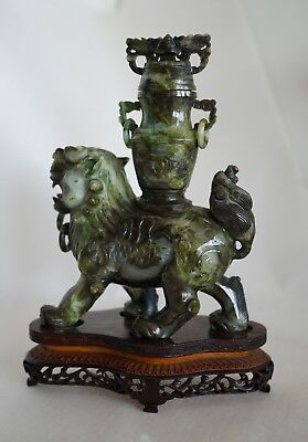 Antique/ Vintage Chinese Hand Carved Jade Temple FOO DOG-LION Carrying A jar