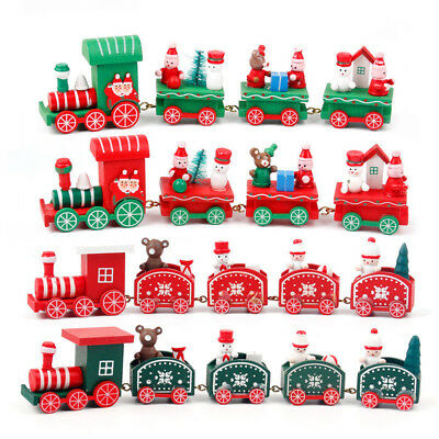 Xmas 2018 Wooden Train Merry Christmas Decorations Kids Favor Tree Hanging Decor